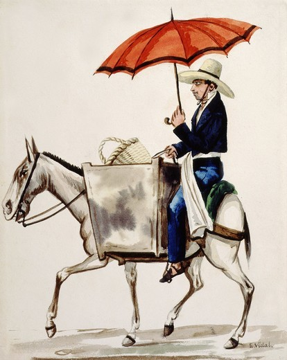 Baker going to town, from Costumes of South America watercolour series by E. Vidal, Peru, c. 1820 : Stock Photo