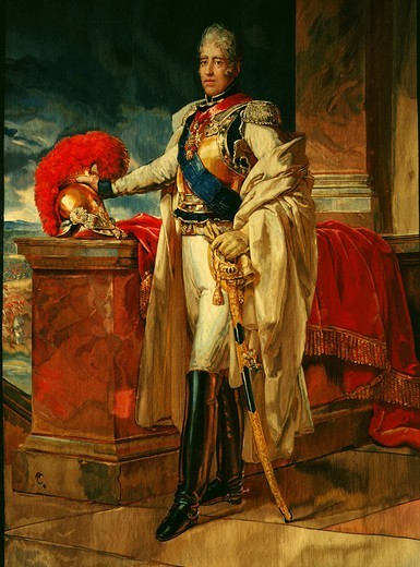 Stock Photo: 4069-4323 CHARLES X, 1757-1836 King of France, c. 1820 tapestry made Gobelins, France
