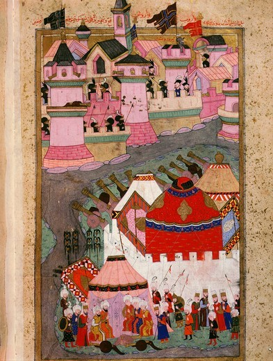 Attack on Vienna, Austria, 27 September 1529 by army of Suleiman the Magnificent , 1588 Ottoman manuscript Hunername, vol II devoted to military campaigns of Suleiman the Magnificent, 1494-1566 Ottoman sultan, by Loqman : Stock Photo