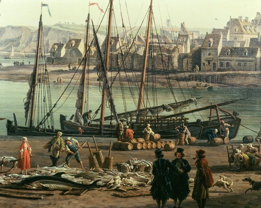 Stock Photo: 4069-4352 Dieppe (fishing port), France, 1765, from series of Ports of France commissioned by Louis XV,1710-74 King of France and Navarre