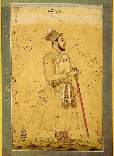 DARA Shukoh, eldest son of Shah Jahan, Shah Jahan 1592-1666 Mughal emperor of India, and brother of Aurangzeb, 1618-1707 last of great Mughal emperors of India (reigned 1658-1707), Mughal School Indian miniature : Stock Photo