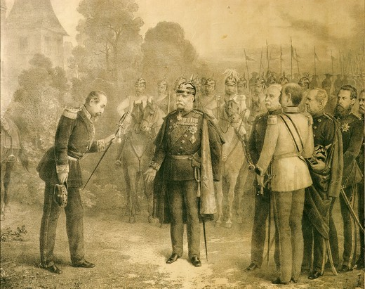Surrender of Napoleon III, 1808-73 Emperor of France, after Battle of Sedan, 2 September 1870 (Austrian victory over French : Stock Photo