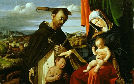 Stock Photo: 4069-4464 Madonna and Child with Saint Peter the Martyr, 1205-52 Dominican friar and priest