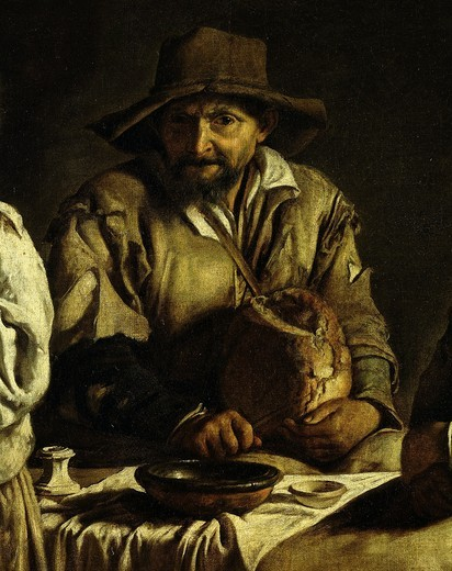Man cutting bread, from Famille de paysans dans un int?rieur (peasant familyin an interior) (detail) : Stock Photo