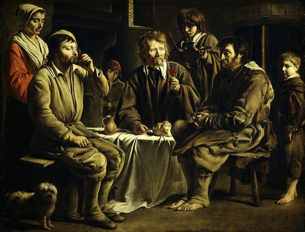 Repas de paysans dans un int?rieur (peasant meal), 1642 : Stock Photo