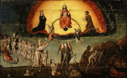 Stock Photo: 4069-4665 The Last Judgement, wooden panel painting, late 15th century Franco-Flemish, from church of Orchaise, France