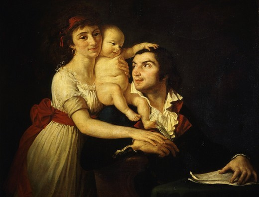 Stock Photo: 4069-4716 Camille DESMOULINS, 1760-94 French journalist and politican, with his wife Lucile (1771-94) and their son Horace-Camille (1792-1825), c. 1792 (MV 5651)