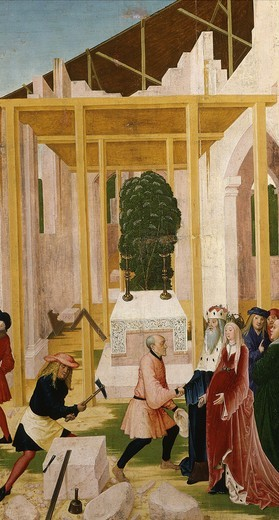 Stock Photo: 4069-4747 Construction of Klosterneuburg monastery, with Leopold III, c.1073-1136 Margrave of Austria and saint, c. 1507 painting