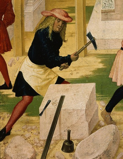 Stonemason, from Construction of Klosterneuburg monastery, with Leopold III, c.1073-1136 Margrave of Austria and saint, c. 1507 painting (detail) : Stock Photo