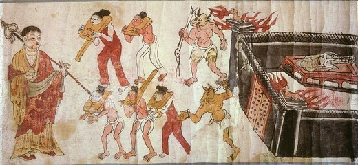 Stock Photo: 4069-475 Torments in Hell, Sutra of the Ten Kings, Chinese painting, from Mogao Caves, near Dunhuang, Gansu province, China, 9th-10th century AD