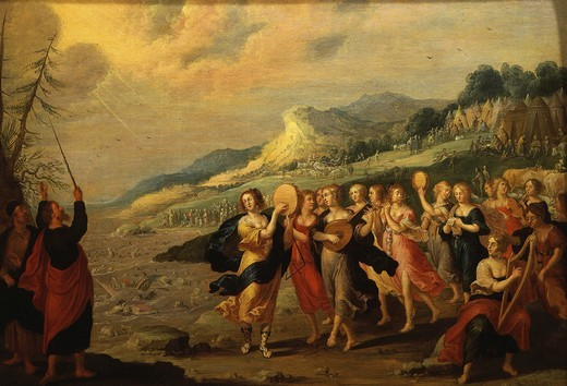 Dance of the Hebrews after crossing the Red Sea, late 16th - early 17th century Flemish with initials H. V. : Stock Photo
