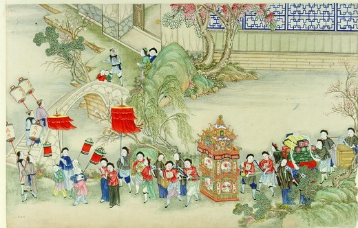Marriage procession, Chinese painting, 19th century : Stock Photo