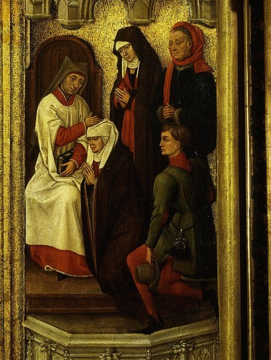 Blessing an engaged couple, from Redemption Triptych (detail), also attributed to Vrancke van der Stockt : Stock Photo