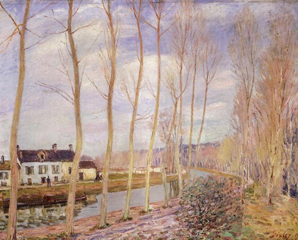 Stock Photo: 4069-4804 Le canal du Loing, Moret sur Loing (Loing canal, Moret-sur-Loing, France), 1892