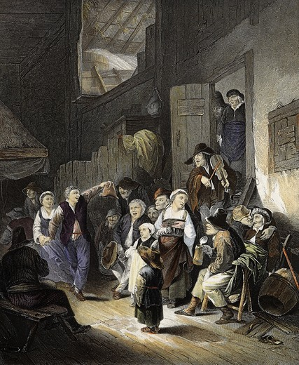 Stock Photo: 4069-4872 Dance in village tavern, 19th century engraving by A. H. Payne after painting by Cornelius-Pieterz Bega, 1620-64 Dutch