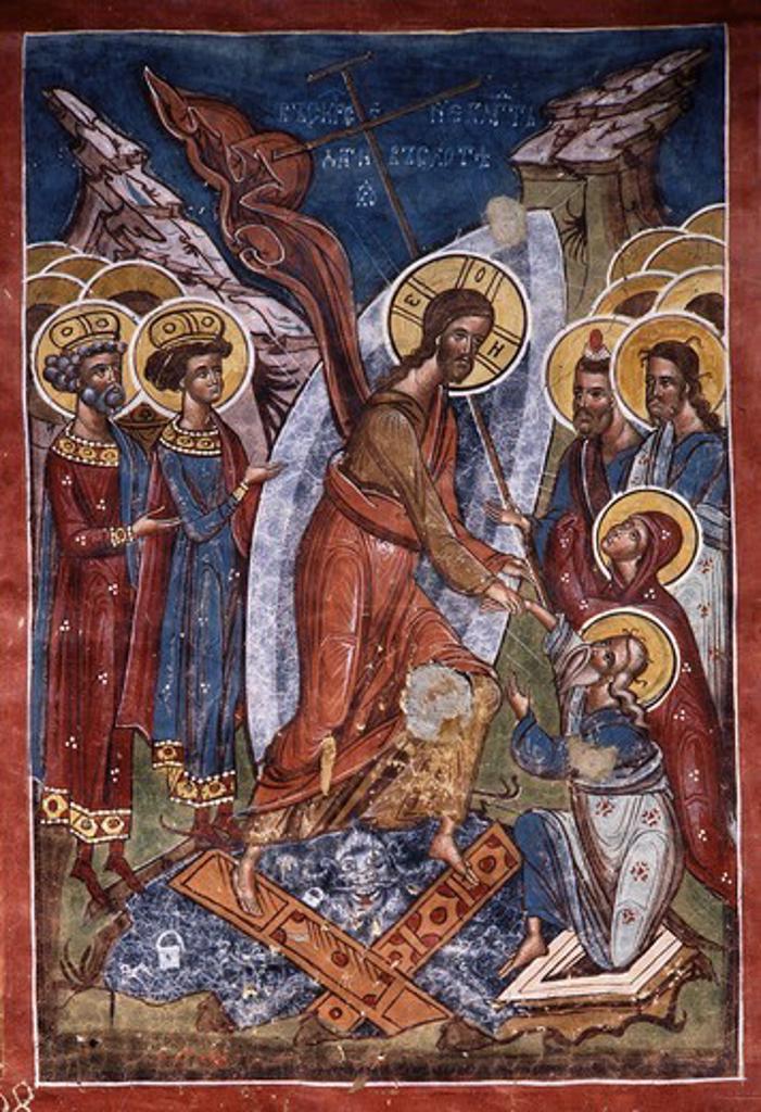 Anastasis, or Harrowing of Hell, Christ's descent into Limbo, exterior fresco, 1537, Monastery of Moldovita, Moldavia, Romania : Stock Photo