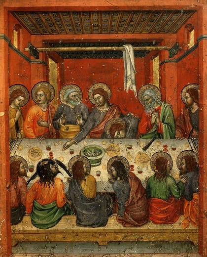 Stock Photo: 4069-4946 The Last Supper, from predella, Montepulciano Cathedral, Italy