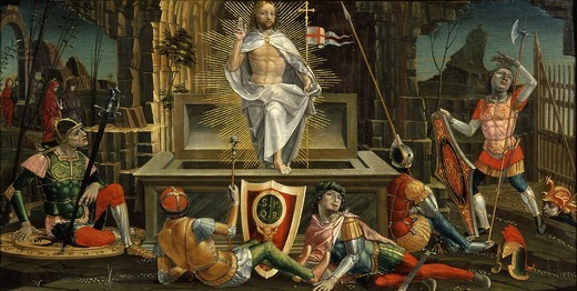 The Resurrection, from predella, Altarpiece of San Martino : Stock Photo