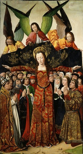 The Virgin of Mercy, from altarpiece of the Convent of Santa Clara, Palencia, Spain, 15th century : Stock Photo