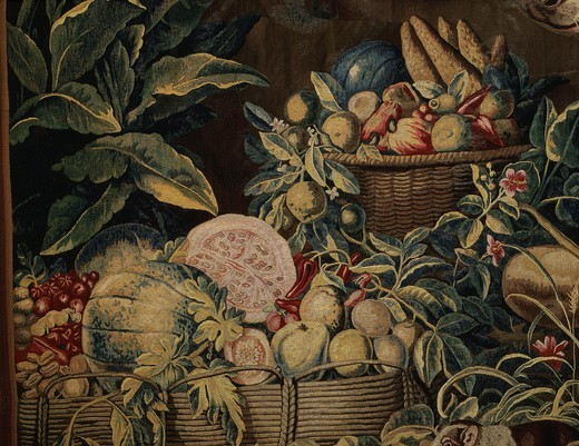 Stock Photo: 4069-5004 Exotic fruits, from Bird hunt in West Indies, tapestry, 18th century French Gobelins manufacture, from series commissioned by Knights of Malta (Order of Hospitallers of Saint John) (detail)