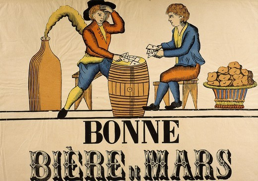 Stock Photo: 4069-5010 Bonne bire de Mars, French advertisement for beer, Empire era (1804-14)