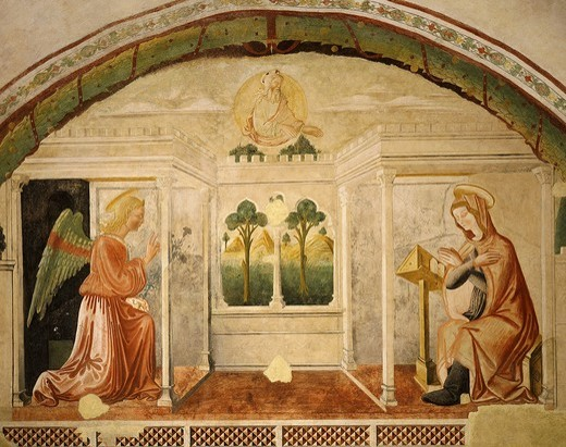 Stock Photo: 4069-5013 The Annunciation, 13th century fresco in baptistery