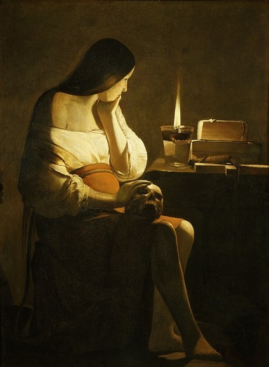 Stock Photo: 4069-5021 La Madeleine ? la veilleuse (Mary Magdalene with night light), c. 1640-45