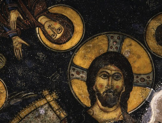 Stock Photo: 4069-5024 Christ Pantocrator and Virgin Mary, fresco, central apse, Eski Gumus monastery, 10-1th century, Goreme valley, Cappadocia, Turkey