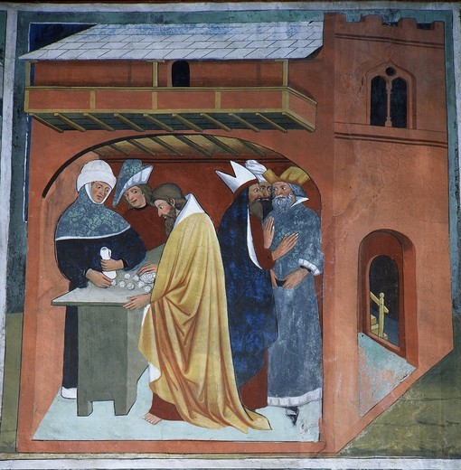 Judas' 30 pieces of silver, and his betrayal of Christ, from Life of Christ, fresco, 15th century : Stock Photo