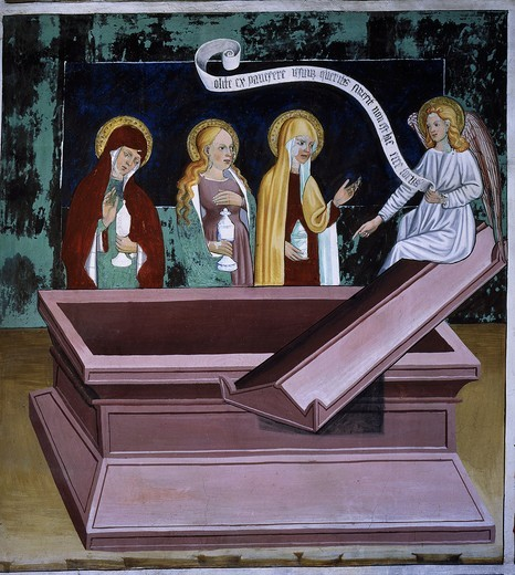 Holy women at the tomb, from Life of Christ, fresco, 15th century : Stock Photo