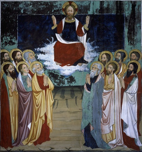 Stock Photo: 4069-5071 The Ascension, from Life of Christ, fresco, 15th century