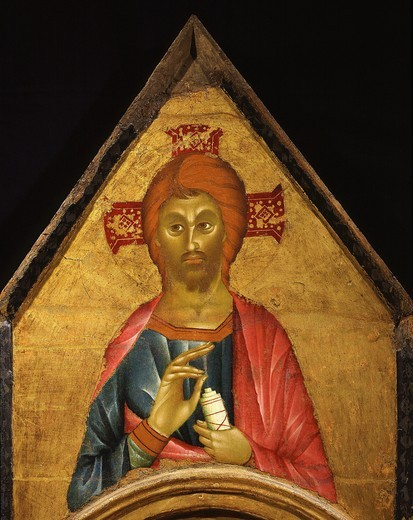 Stock Photo: 4069-5074 Christ blessing, from Madonna and Child with Saint John the Baptist, Mary Magdalene and Julian, altarpiece from Capella Sagezza Perugia (detail)