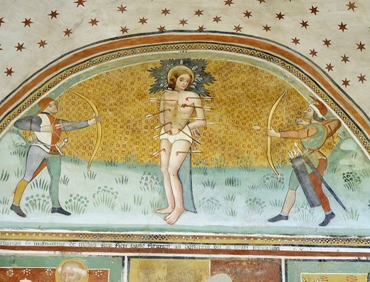 Stock Photo: 4069-5091 Martyrdom of Saint SEBASTIAN, Roman soldier c.288, fresco, 14th century, church of San Antonio