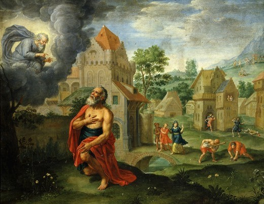 God announcing the Flood to Noah, 17th century painting on copper : Stock Photo