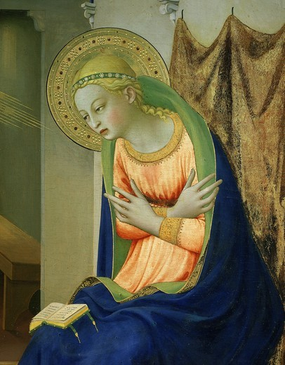 Virgin Mary, from Annunciation altarpiece, 1430-35 (detail) : Stock Photo