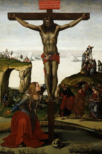 The Crucifixion with Mary Magdalene, c.1500-05 : Stock Photo