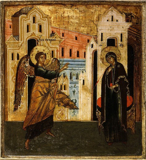 Stock Photo: 4069-5161 The Annunciation, icon, 17th century Novgorod School Russian