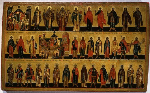 Stock Photo: 4069-5166 Calendar for October, icon, mid 18th century Novgorod School Russian