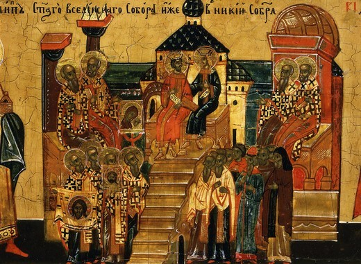 Council of Nicaea, 325 AD, from Calendar for October, icon, mid 18th century Novgorod School Russian (detail) : Stock Photo