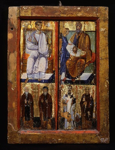 Stock Photo: 4069-5188 Story of King Abgar, and saints, panel painting, 8th century, Monastery of Saint Catherine, Sinai, Egypt