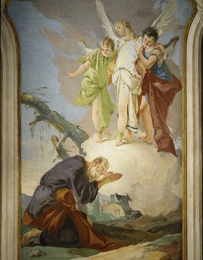 Apparition of the angels to Abraham, fresco, 1726-28 : Stock Photo