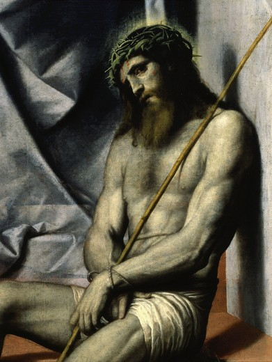 Stock Photo: 4069-5296 Christ, from Ecce Homo with angel, c. 1550 (detail)