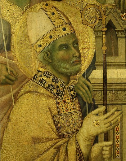 Stock Photo: 4069-5310 Bishop saint, from La Maesta (Majesty), painted 1308 for high altar of duomo (cathedral), Siena (detail)