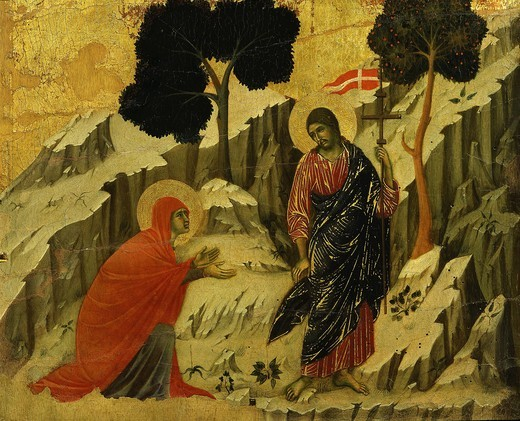 Stock Photo: 4069-5315 Noli me tangere (risen Christ appears to Mary Magdalene), from back panels of La Maesta (Majesty), painted 1308 for high altar of duomo (cathedral), Siena