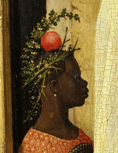 Stock Photo: 4069-5336 Young black page of King Gaspard with apple on head, from Adoration of the Magi, tripytch, c.1495 (with donors Scheyven and Patron saints Peter Agnes and Joseph) (detail)
