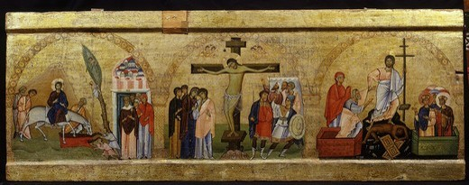 Life of Christ, early 11th century panel painting, fragment of plaque surmounting epistyle or architrave (118 x 44 cm) : Stock Photo