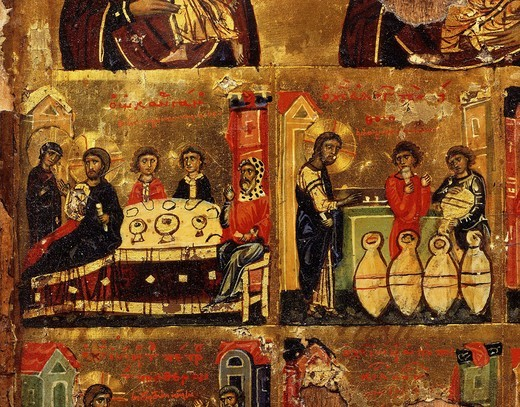 Stock Photo: 4069-5346 Wedding at Cana (two scenes), from Mother of God, and Christ's Passion, panel painting, 11th century (detail)