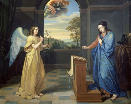 The Annunciation, 1893 fresco, Monastery of the Servants of Mary, Arco, Italy : Stock Photo