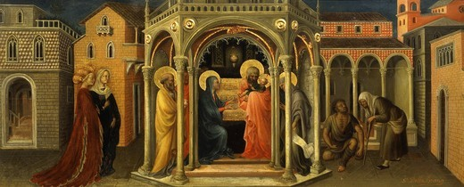 Stock Photo: 4069-5350 Christ's Presentation in the Temple, from predella to Adoration of the Magi (NB the original has been in the Louvre since 1812, taken by the French