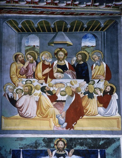 Stock Photo: 4069-5365 The Last Supper, from Life of Christ, fresco, 15th century
